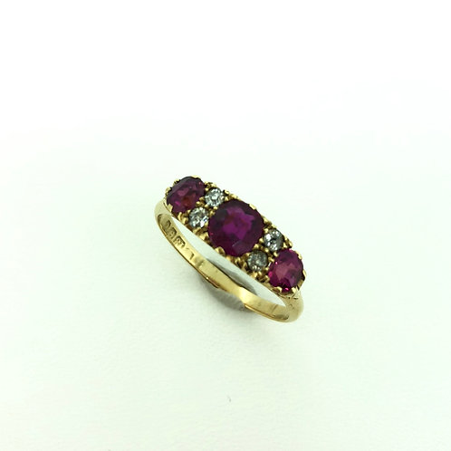 Vintage 18ct gold Ruby and Diamond ring 1902
