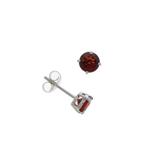 Garnet and white gold stud earrings
