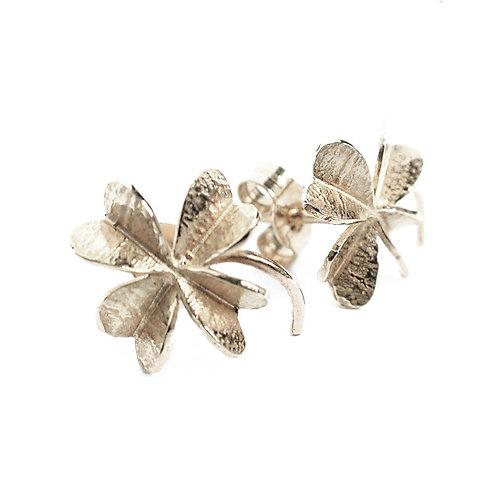 Lucky Clover silver stud earrings