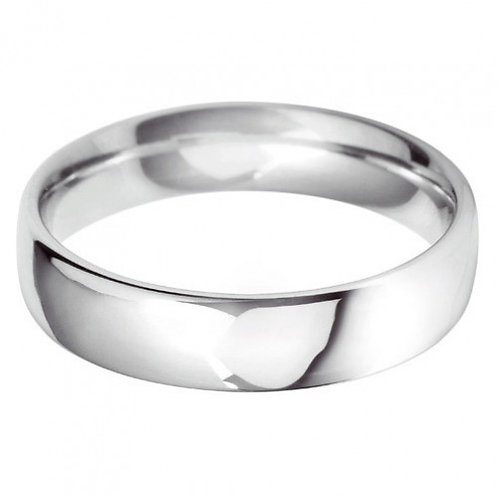 Classic 5mm court white gold wedding band
