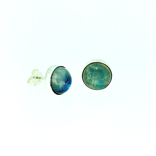 Moonstone round silver stud earrings