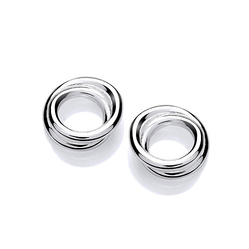 Double Hoop Silver stud earrings