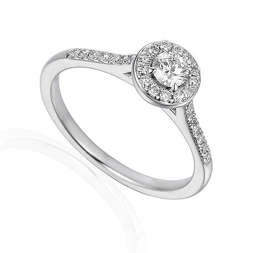 Diamond Halo ring with Diamond shoulders and Diamond under bezel
