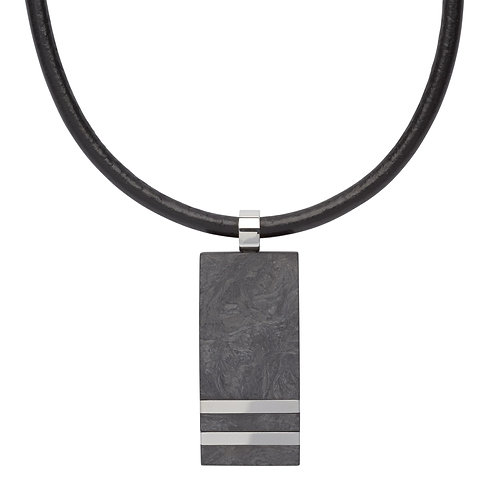 Stainless Steel pendant with leather chain - carbon composite material