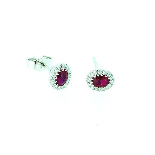 Ruby and Diamond cluster 18ct white gold earrings