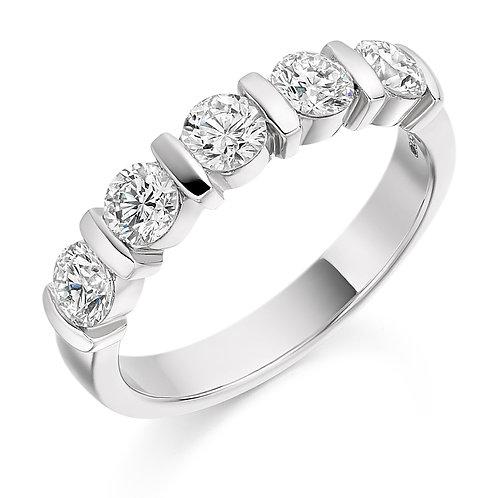 Heavy Bar set Diamond 1ct half Eternity ring