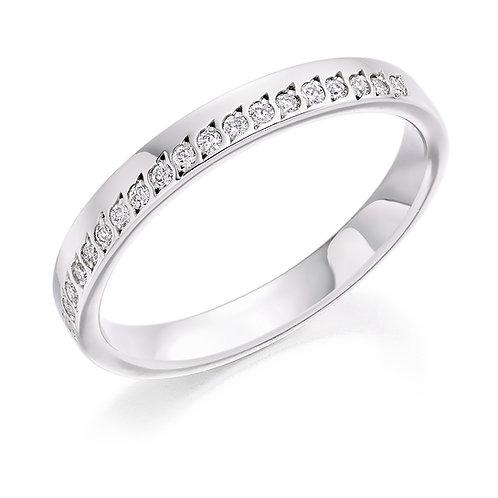 Offset Grain set Diamond 0.15ct half Eternity ring