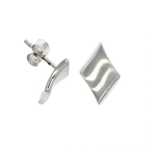 9ct White gold concave diamond shape stud earrings