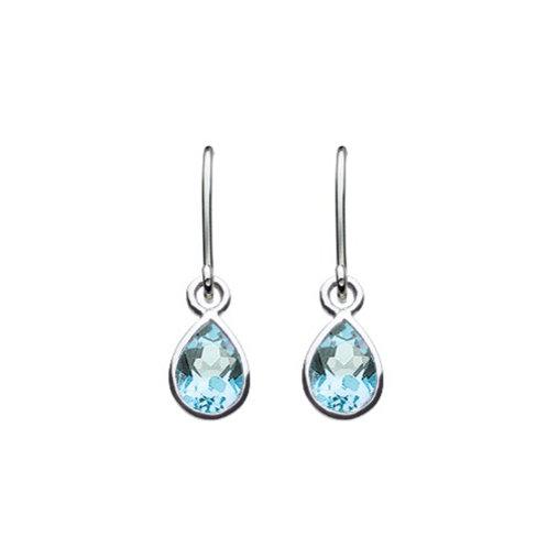 Blue Topaz silver drop earrings