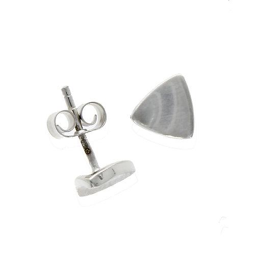 Satin triangle white gold stud earrings