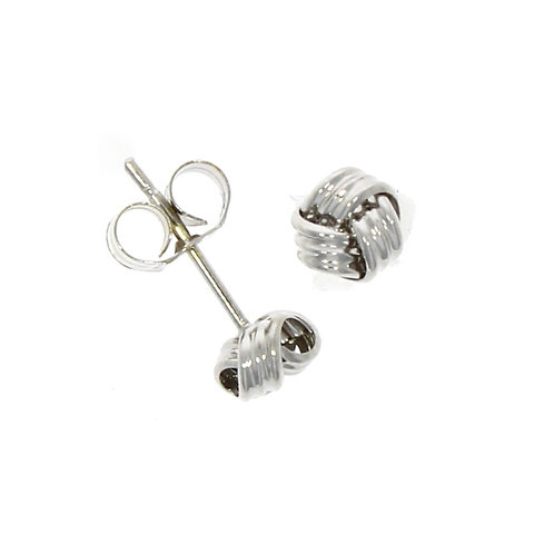 Small ribbed knot stud earrings