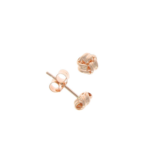 Rose gold polished ribbon knot stud earrings