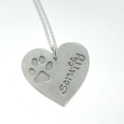 Silver Precious paws large heart pendant