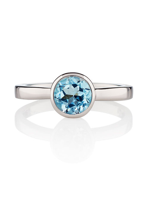 Juliet blue topaz and silver ring