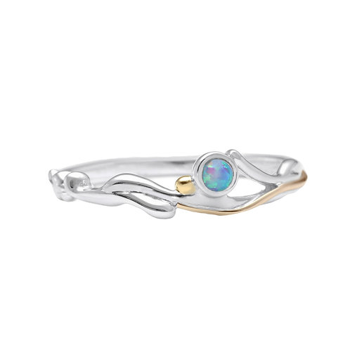Opalite silver with gold detail ring
