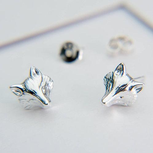 Fox mask sterling silver stud earrings