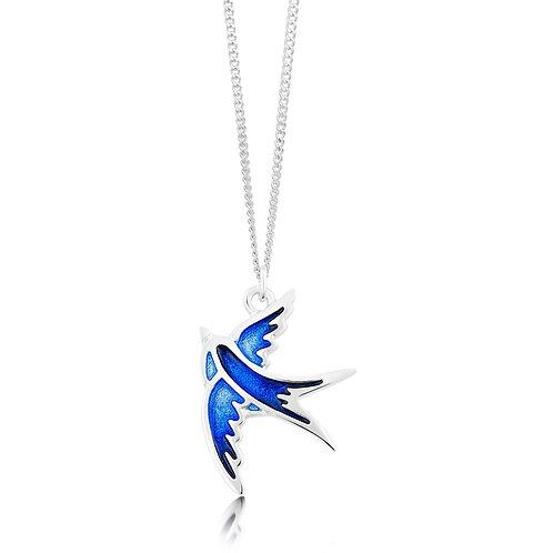 Swallows silver pendant