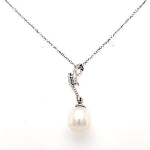Freshwater Teardrop Pearl and Diamond White Gold Swirl drop pendant