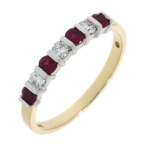 Ruby seven stone bar set eternity ring