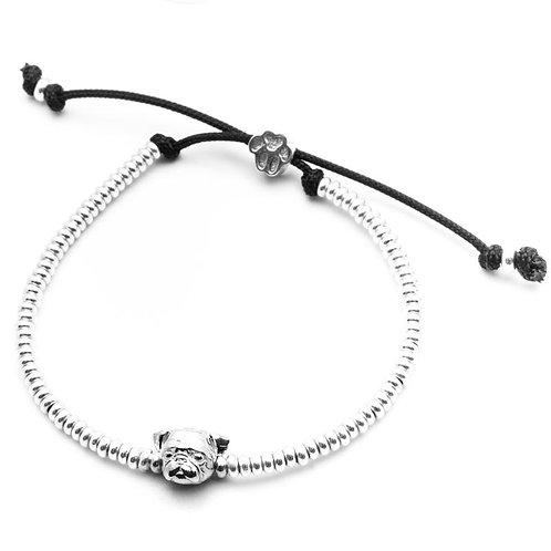 Silver Pug head bracelet