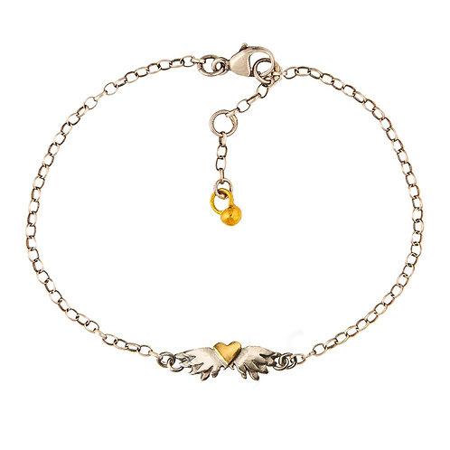 Classic winged heart bracelet