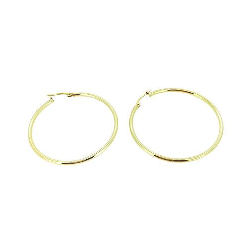 Large slim gold hoop earrings