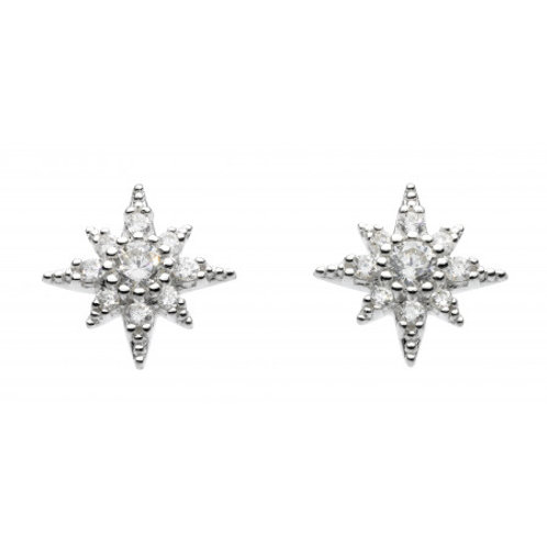 Pointed Star CZ silver stud earrings