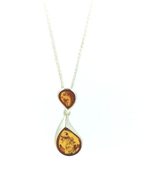 Double drop Amber pendant