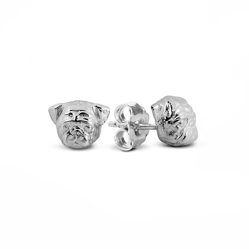 Silver Pug stud earrings