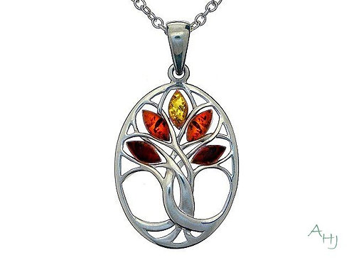 Mixed Amber Tree of Life silver pendant on chain