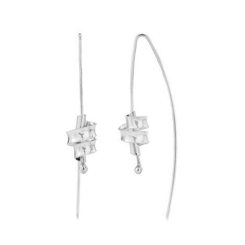 Ribbon silver drop earrings