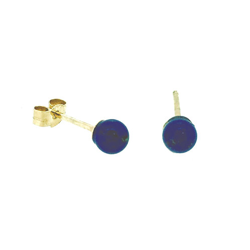 Lapis Lazuli ball stud gold earrings