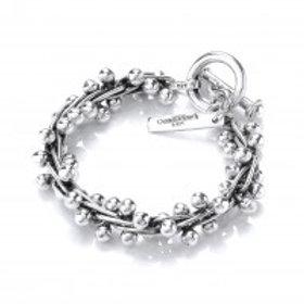 Peppercorn heavy oxidised silver bracelet