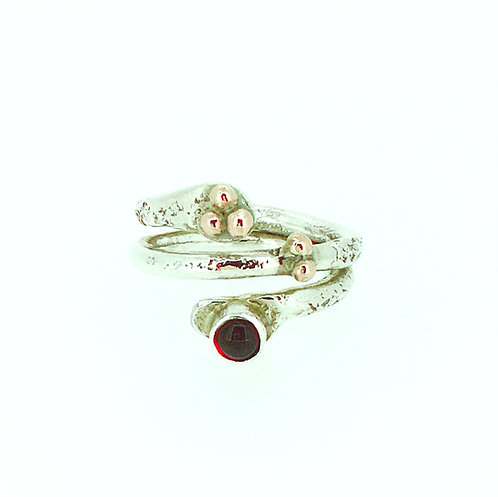Garnet silver ring with rose gold ball detail