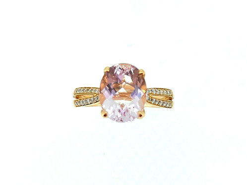 Morganite and Diamond split shoulder Rose gold ring