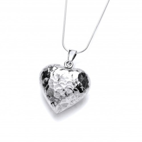 Hammered Puffed Heart silver pendant