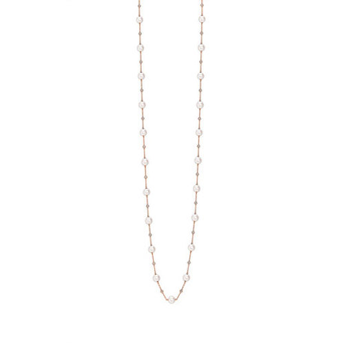 Long Akoya Pearl and Diamond rose gold necklace