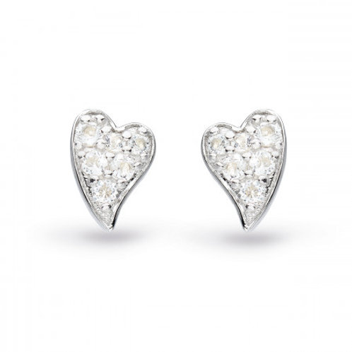 Desire Precious white topaz Heart silver stud earrings