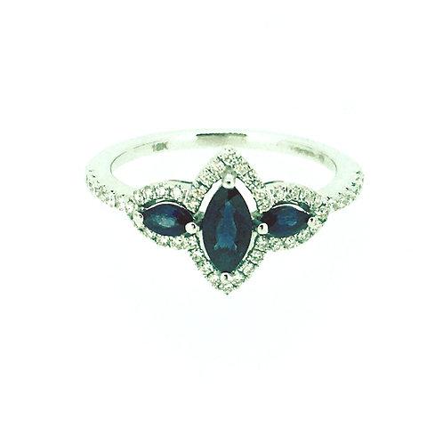 Three stone Sapphire and Diamond white gold ring