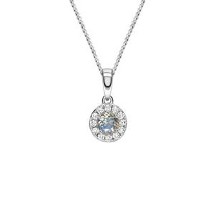 Moonstone and Diamond halo white gold pendant on chain