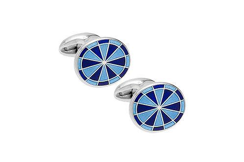 Blue enamel and silver cufflinks