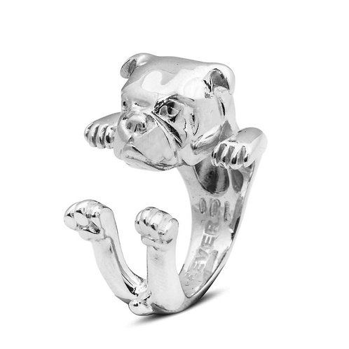 Silver English Bulldog hug ring