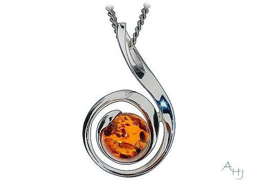Silver Swirl Amber pendant