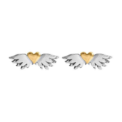 Classic winged heart stud earrings