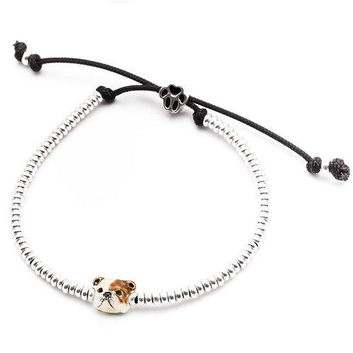 Silver and enamel English Bulldog head bracelet