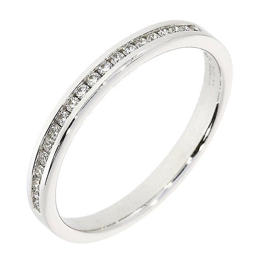 Channel set slim platinum eternity ring