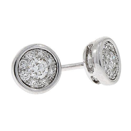 Diamond Cluster Rub-Over 18ct White Gold stud earrings