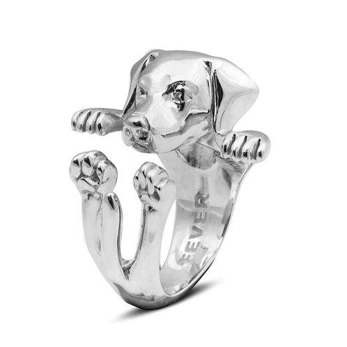 Silver Labrador hug ring