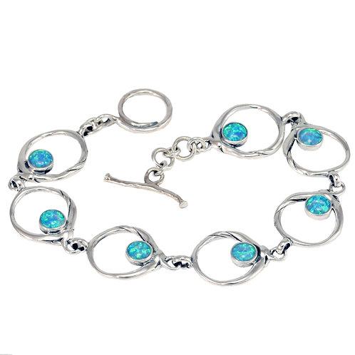 Blue Opalite Silver Circle bracelet