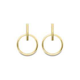 Bar and Circle 9ct Gold Drop earring
